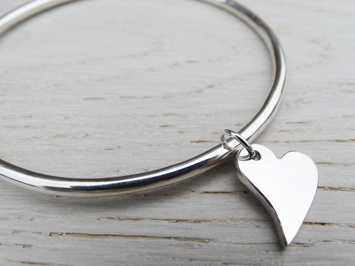 Solid Silver Bangle & Heart, Irregular Heart, Sterling Silver