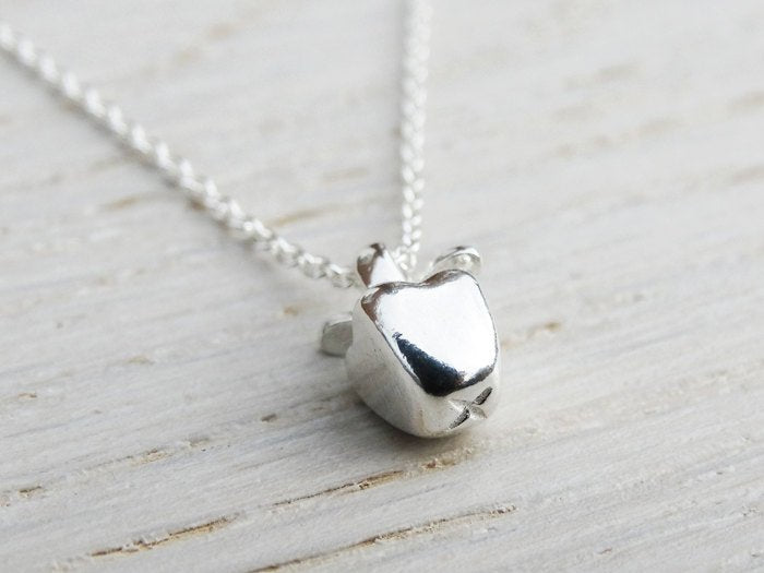 Tiny Silver Apple Necklace - Sterling Silver - Teacher Gift