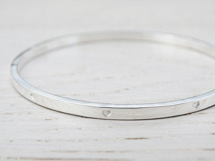 Silver Bangle With Tiny Hearts, Sterling Silver