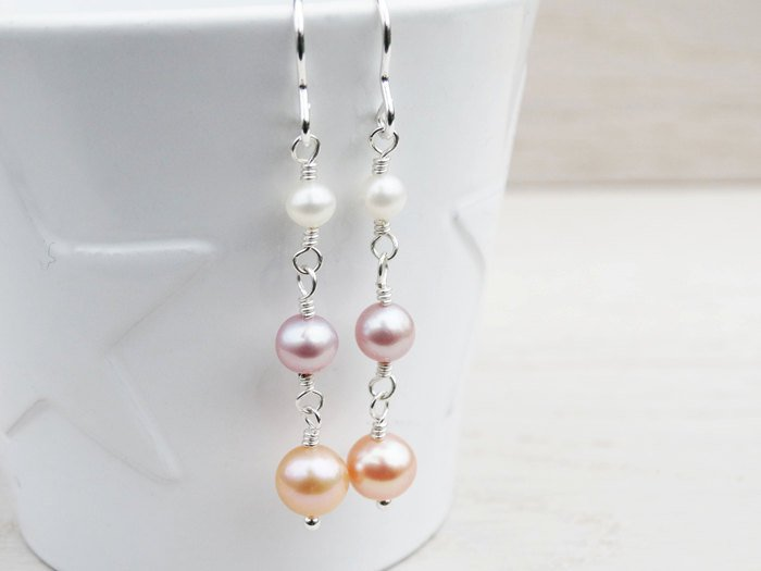 Long Pearl Drop Earrings | Sterling Silver