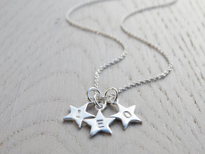 Tiny Silver Star Necklace, 3 Or More Stars With Initials, Personalised, Sterling Silver