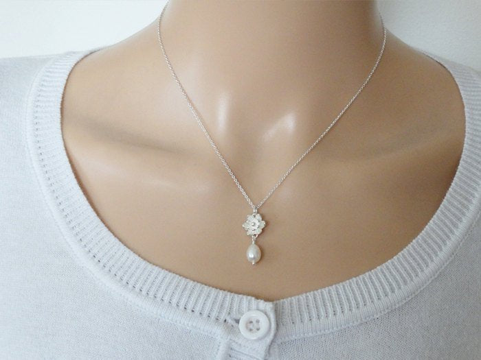 Silver Flower & Pearl Necklace - Sterling Silver