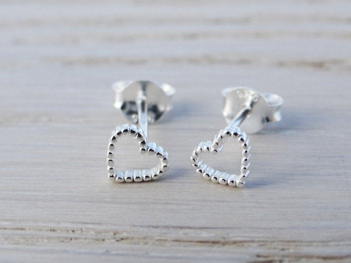 Tiny Silver Dotty Heart Stud Earrings - Sterling Silver