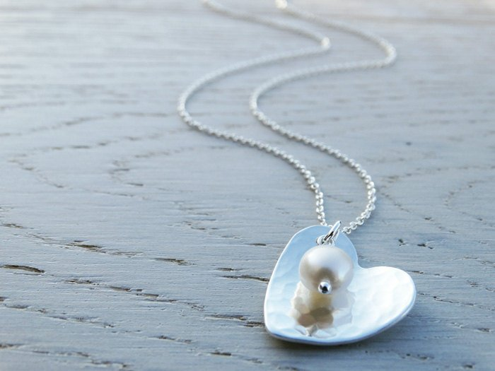 Silver Heart Necklace & Pearl - Sterling Silver