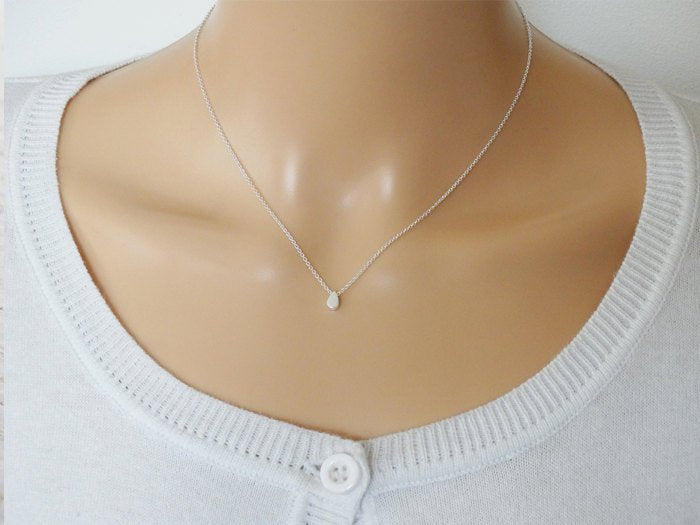 Tiny Silver Rain Drop Necklace - Sterling Silver