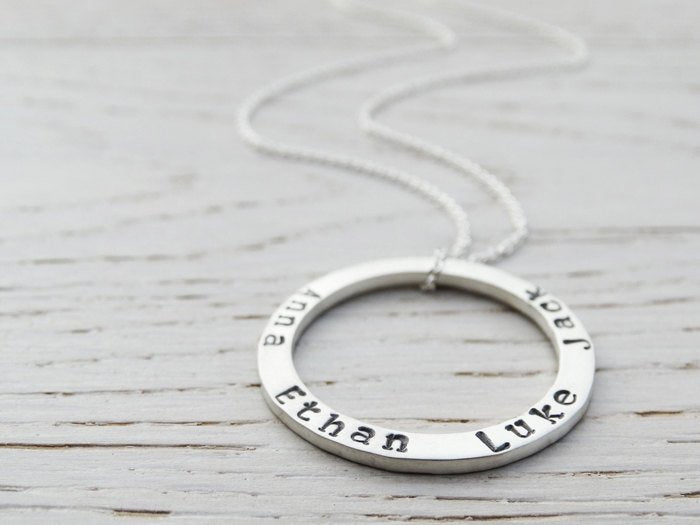 Silver Circle Necklace With Hand Stamped Names - Personalised Necklace - Sterling Silver
