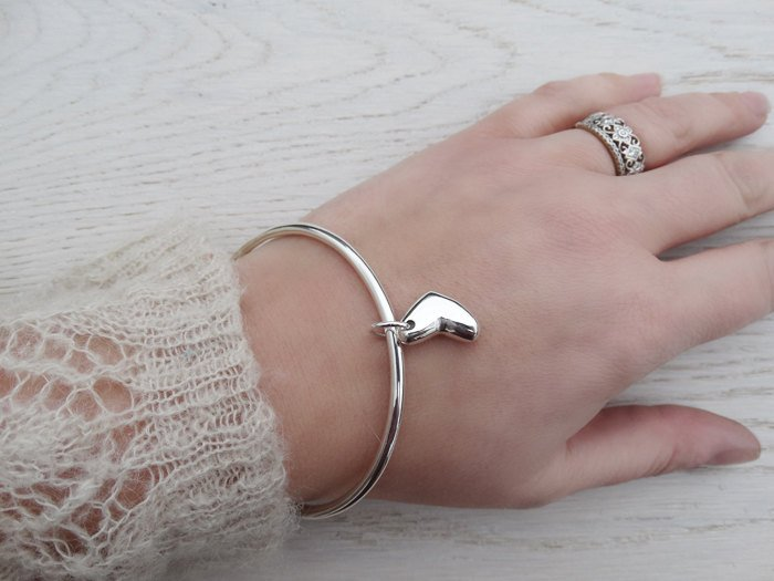 Solid Silver Bangle & Heart, Sterling Silver