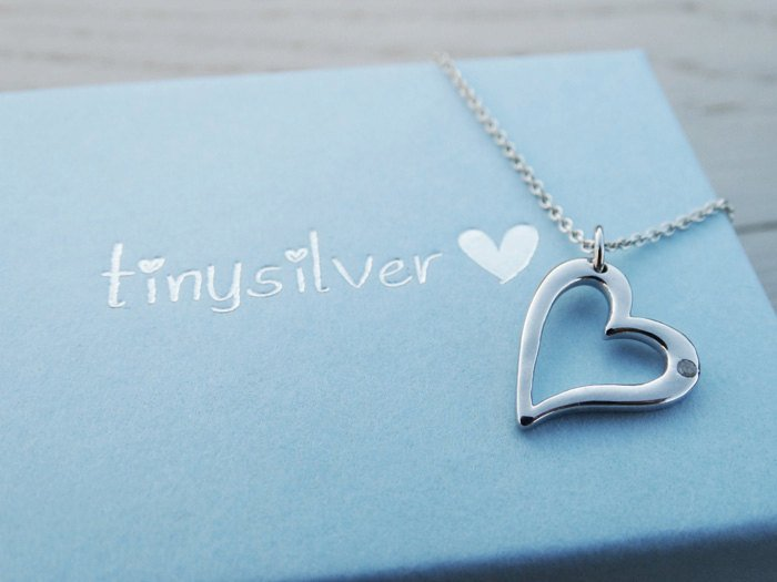 Silver Heart Necklace With Diamond - Sterling Silver