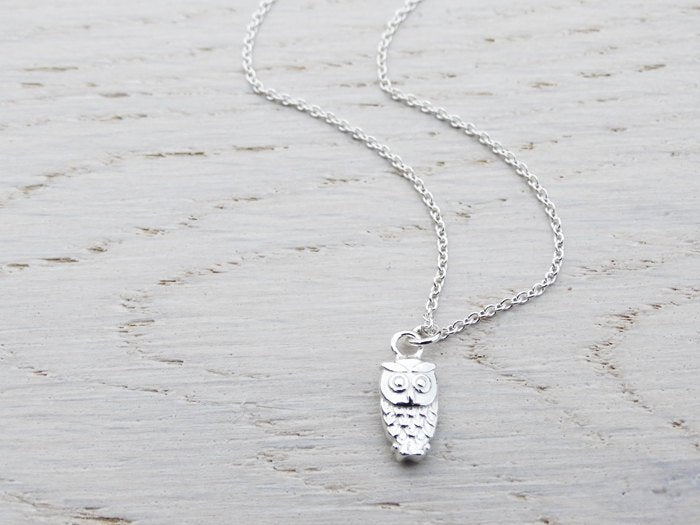 Tiny Silver Owl Necklace - Sterling Silver