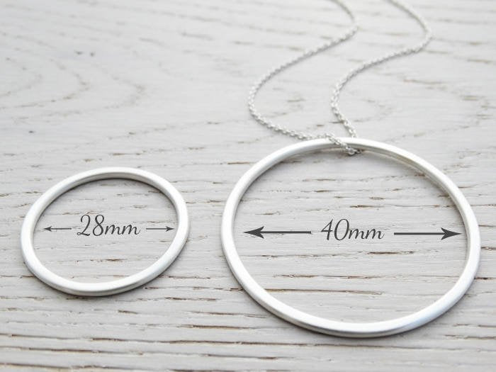 Long Silver Circle Necklace | Sterling Silver