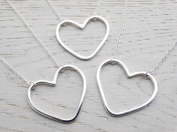 Silver Open Heart Necklace - Large Heart - Sterling Silver