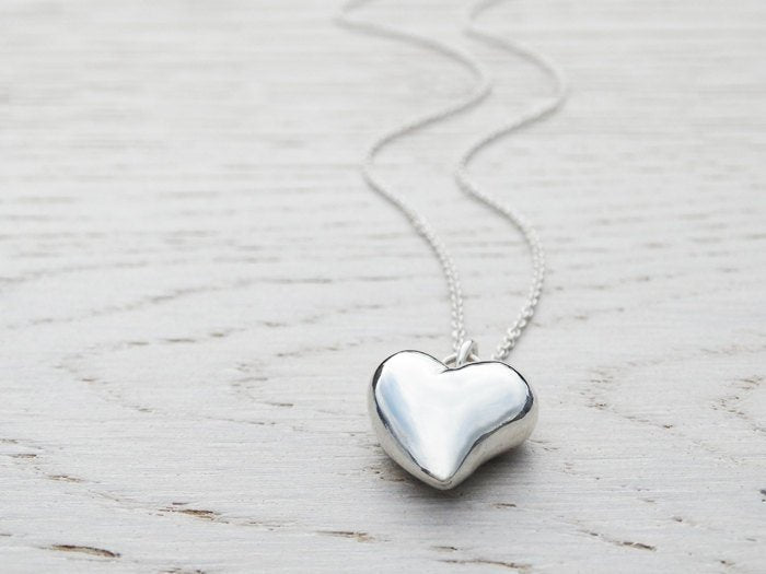 Solid Silver Heart Necklace ~ 3D Heart ~ Sterling Silver