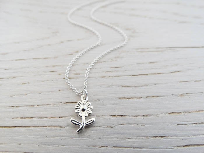 Tiny Silver Flower Necklace - Sterling Silver - Teacher Gift - Nursery Teacher - Childminder - Nanny