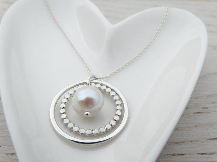 Double Silver Circle & Pearl Necklace - Sterling Silver