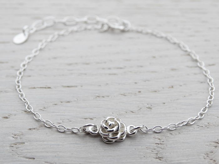 Tiny Silver Rose Bracelet, Sterling Silver