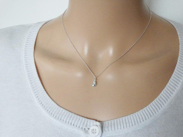 Tiny Silver Bean Necklace - Sterling Silver
