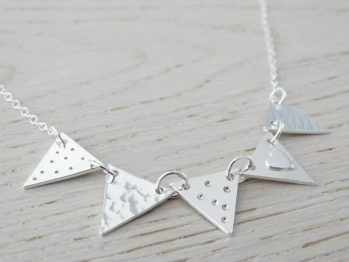 Silver Bunting Necklace, Heart, 5 Flags, Sterling Silver