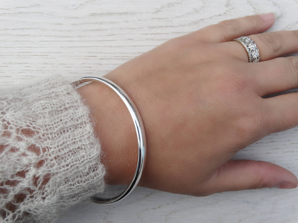 Chunky Silver Bangle, Solid Silver Heavy Bangle, Sterling Silver