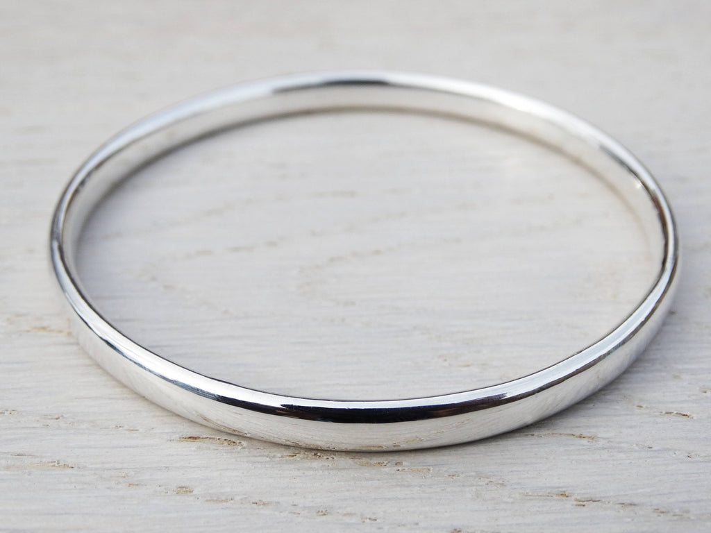Chunky Silver Bangle | Solid Silver Heavy Bangle | Sterling Silver