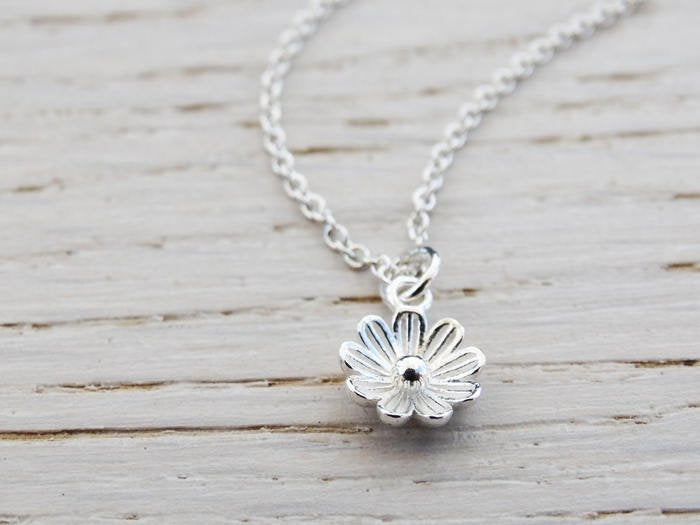 Tiny Silver Flower Necklace - Sterling Silver