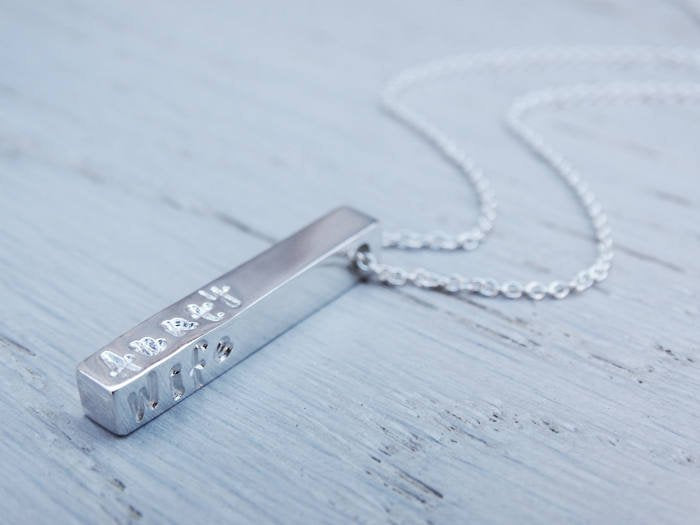 Personalised Silver Bar Necklace | Sterling Silver