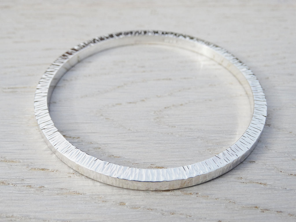 Chunky Silver Bangle, Solid Silver Textured Bangle, Sterling Silver