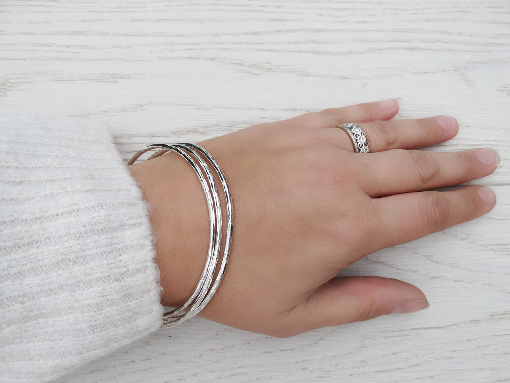 Hammered Silver Bangle, Sterling Silver, Stacking Bangle