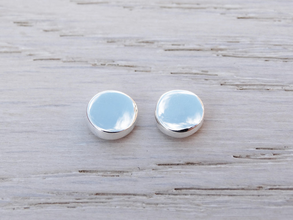 Silver Circle Studs, Sterling Silver, Dot Earrings