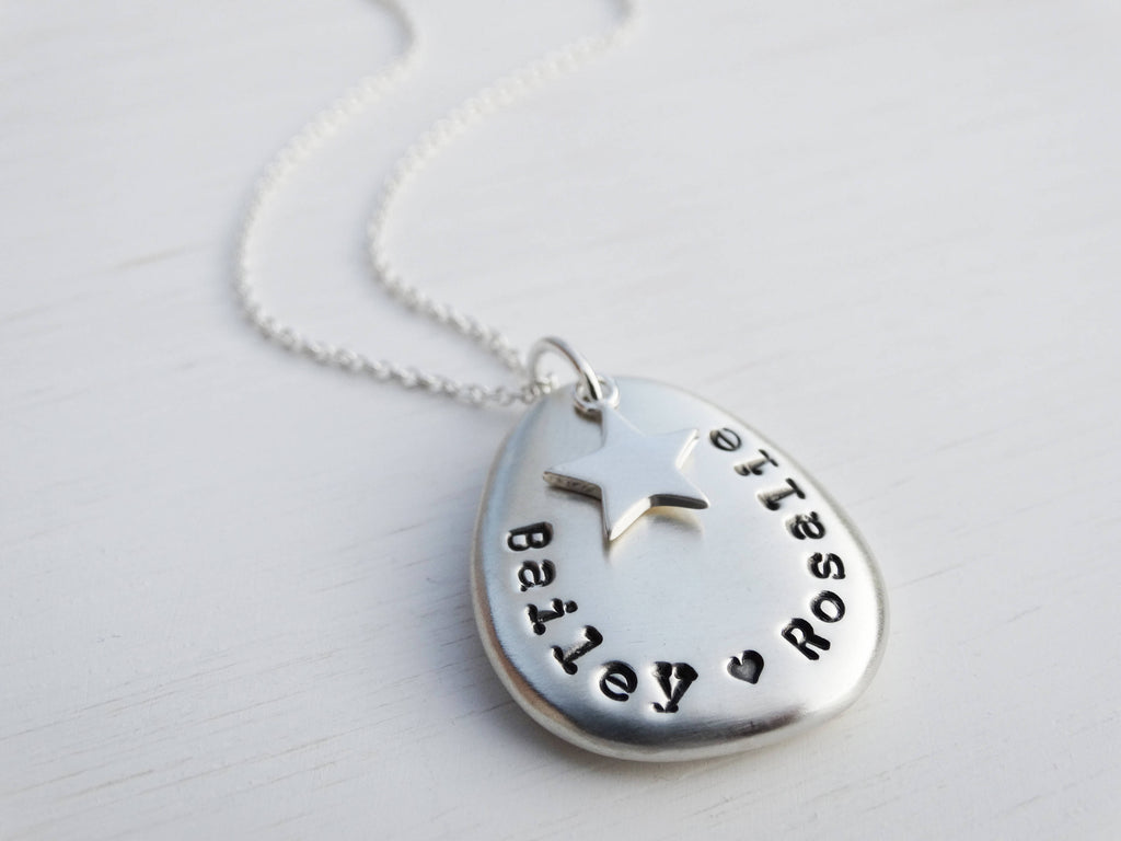 Personalised Silver Pebble & Star Necklace, Sterling Silver