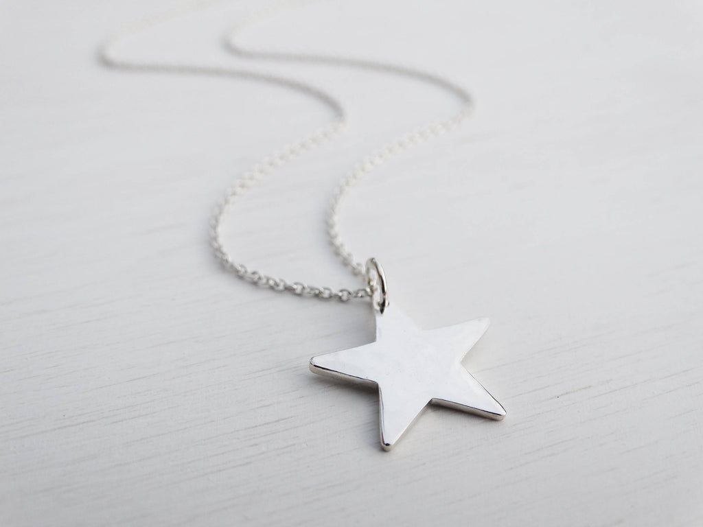 Silver Star Necklace, Hammered Finish, Sterling Silver