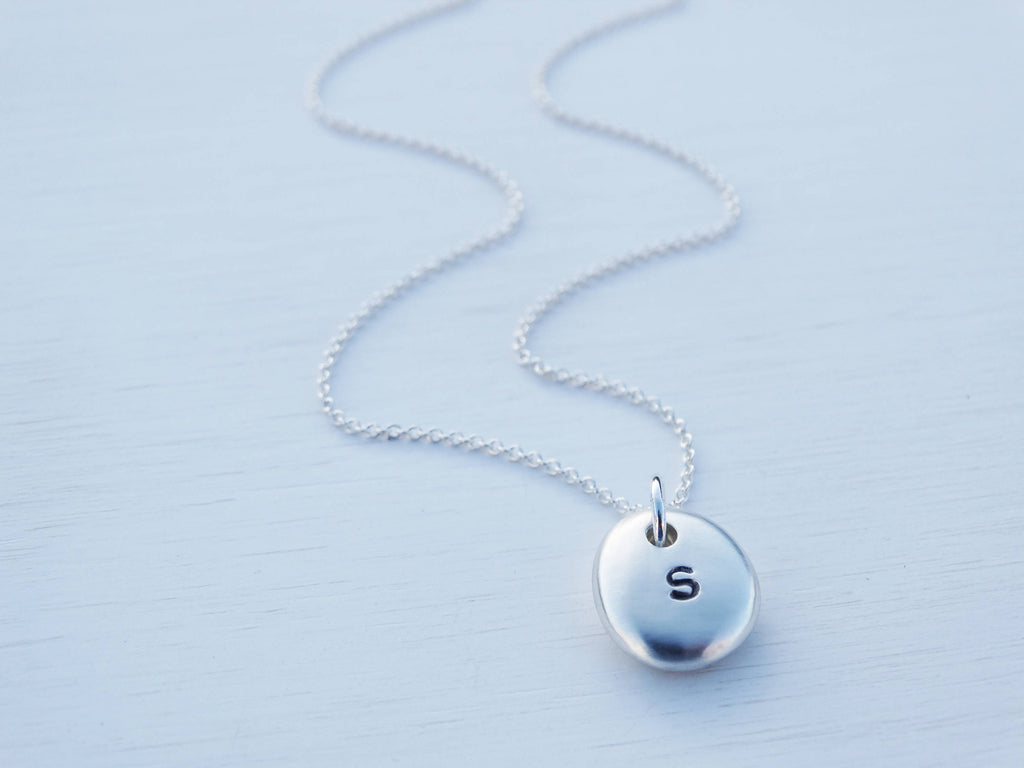 Silver Pebble Initial Necklace, Satin Finish, Solid Sterling Silver