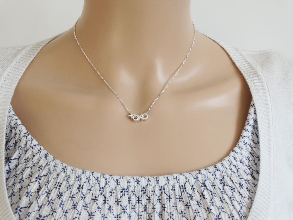 XOXO Silver Necklace, Hugs & Kisses, Sterling Silver