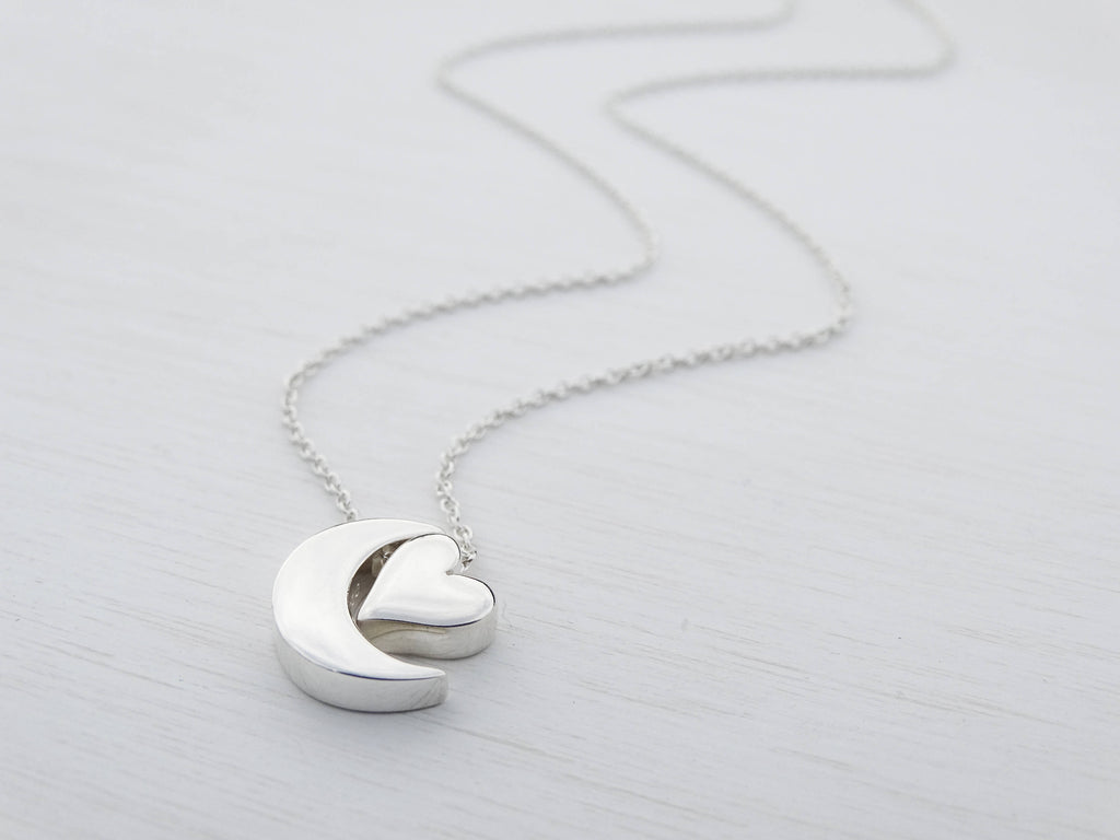 Silver Moon & Heart Necklace, Sterling Silver, Love You To The Moon And Back