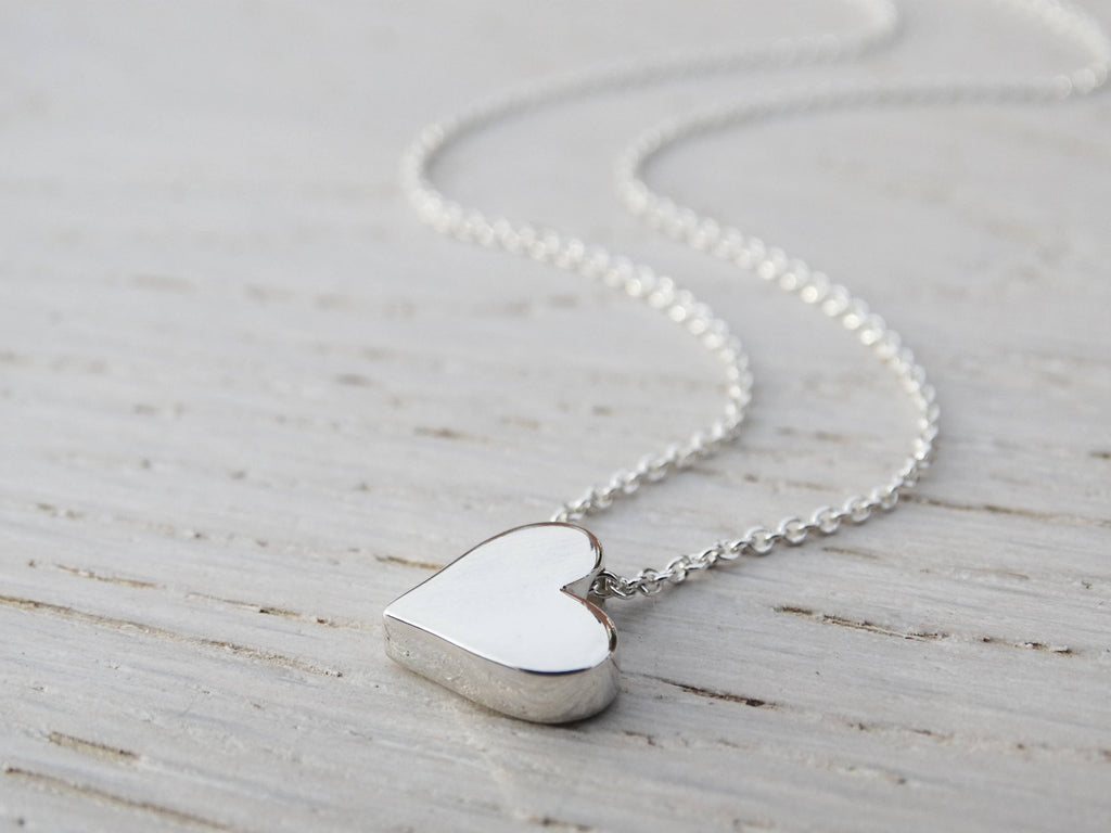 Silver Heart Necklace, Solid Sterling Silver