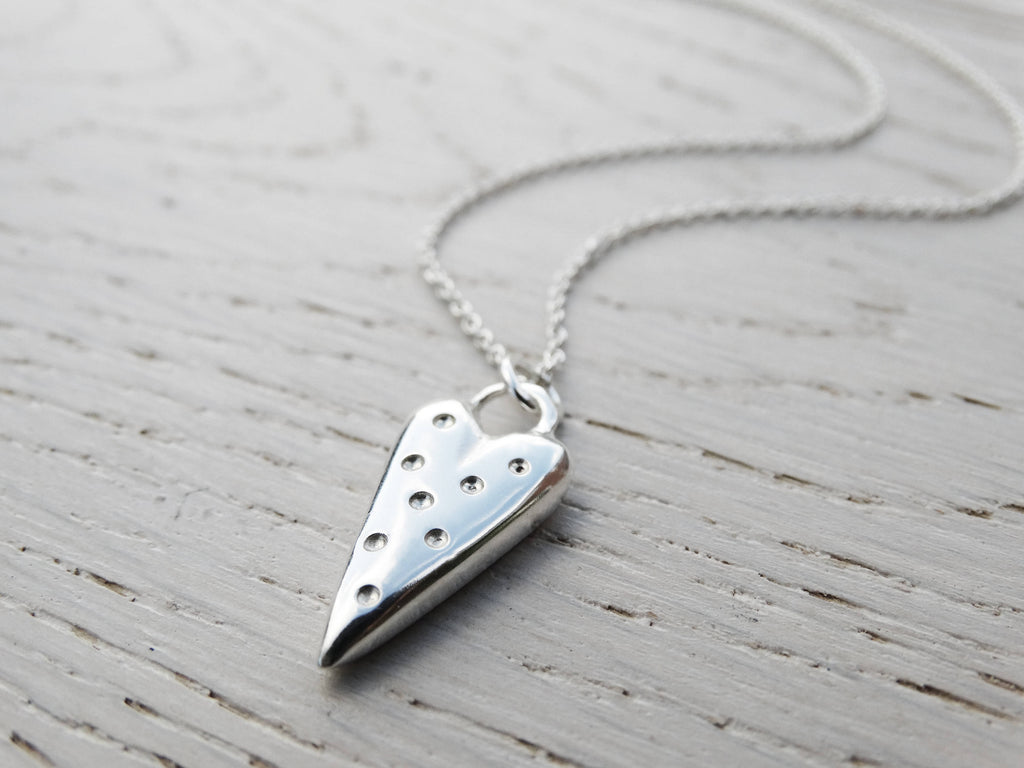 Dotty Silver Heart Necklace, Sterling Silver