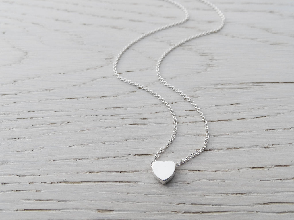 Tiny Heart Necklace, Sterling Silver