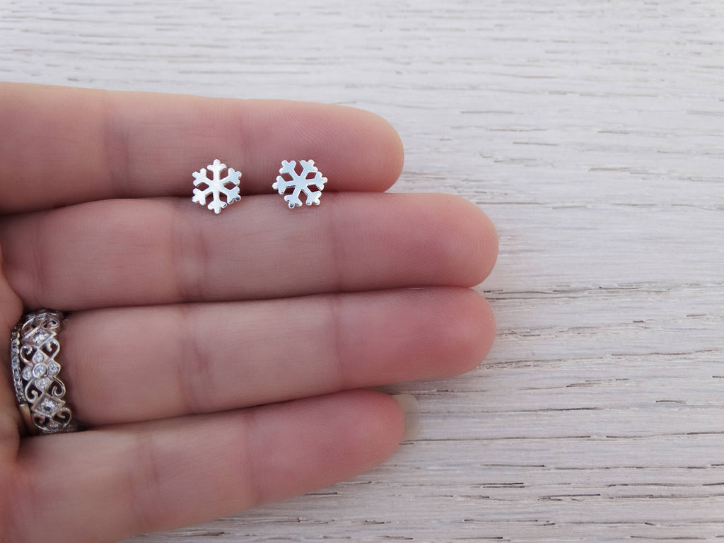 Silver Snowflake Stud Earrings, Sterling Silver