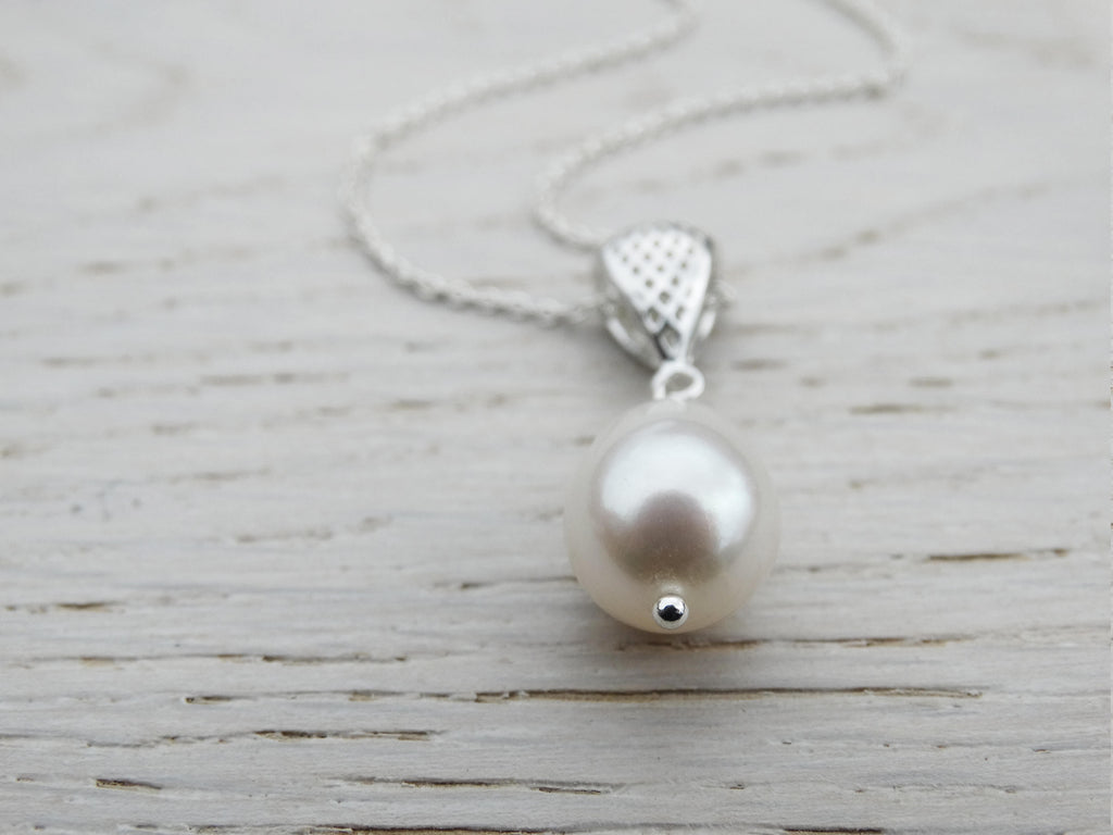 Pearl Necklace With Silver Bail, Sterling Silver