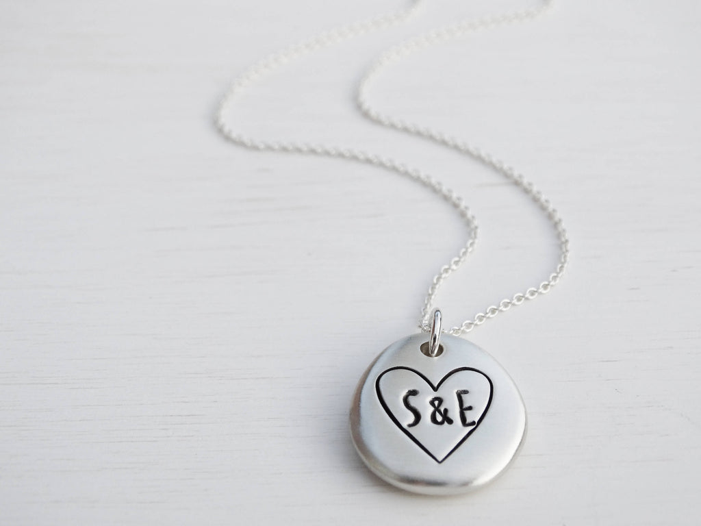 Personalised Silver Pebble & Heart Necklace | Sterling Silver