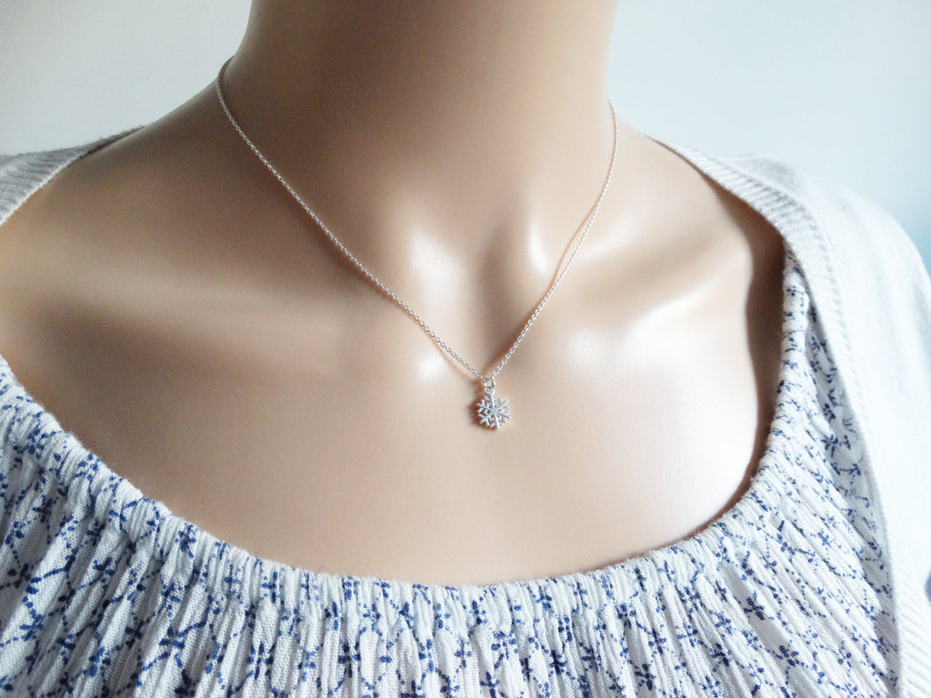 Tiny Silver Snowflake Necklace, Sterling Silver