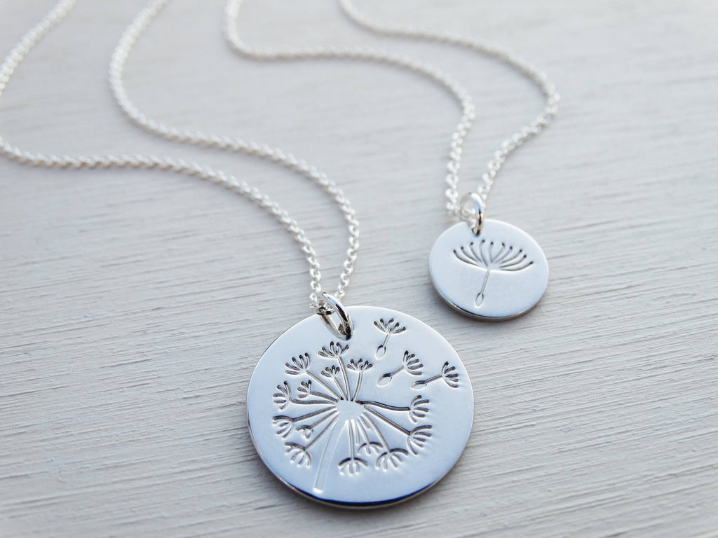 Silver Dandelion Seed Necklace, Make A Wish Pendant, Sterling Silver