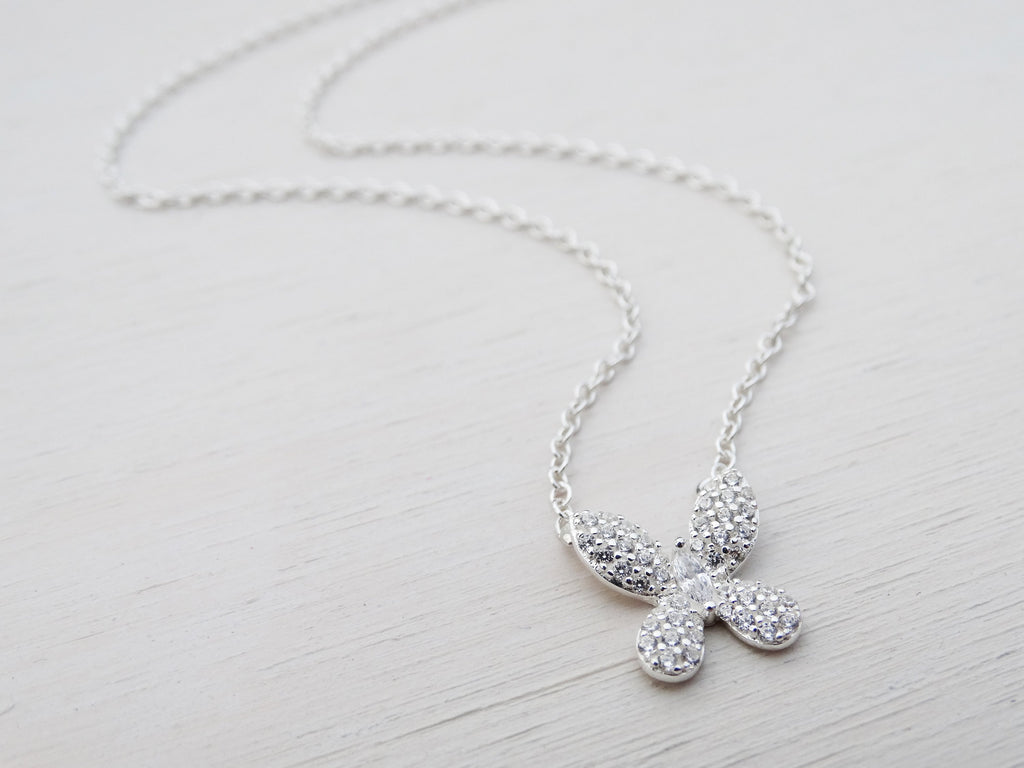 Silver Butterfly Necklace, Cubic Zirconia, Sterling Silver