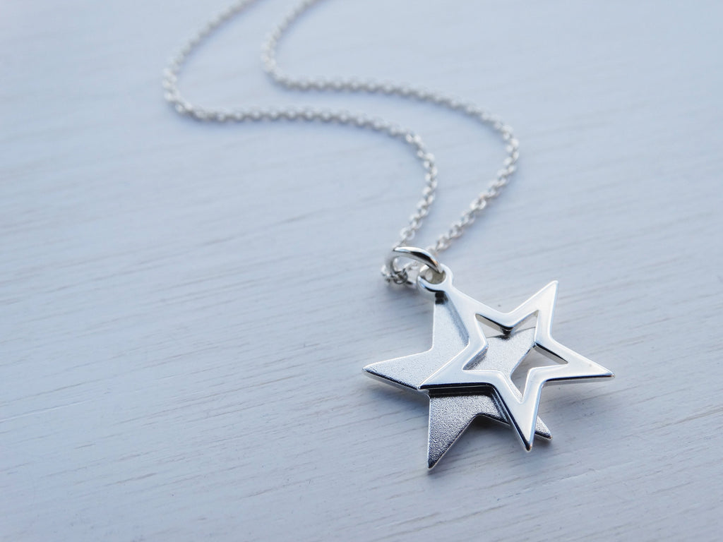 Double Star Necklace, Sterling Silver