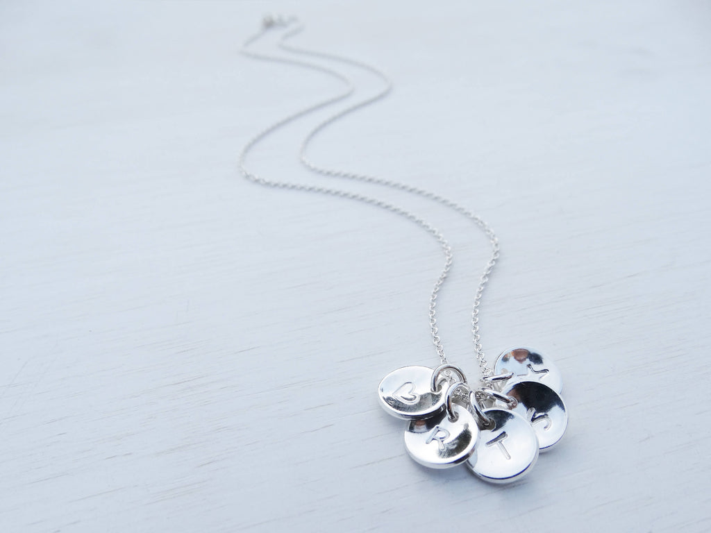 Sterling Silver Initial Disc Necklace
