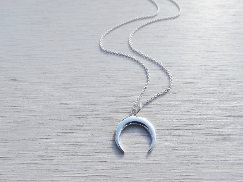 Dainty Silver Horn Necklace, Crescent Moon, Sterling Silver