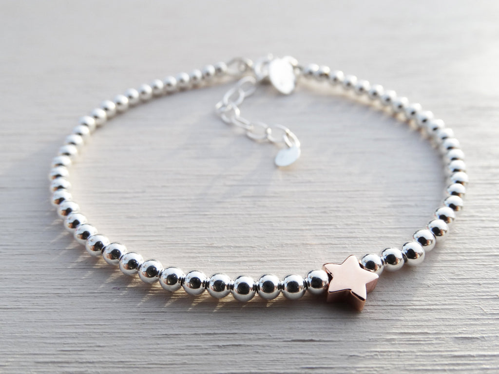 Silver Bead & Rose Gold Star Bracelet, Sterling Silver
