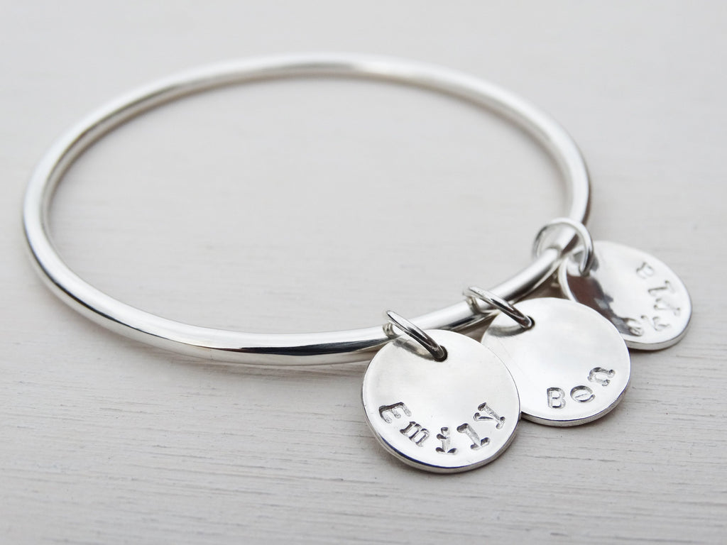 Personalised Silver Bangle, Sterling Silver, Stamped Names