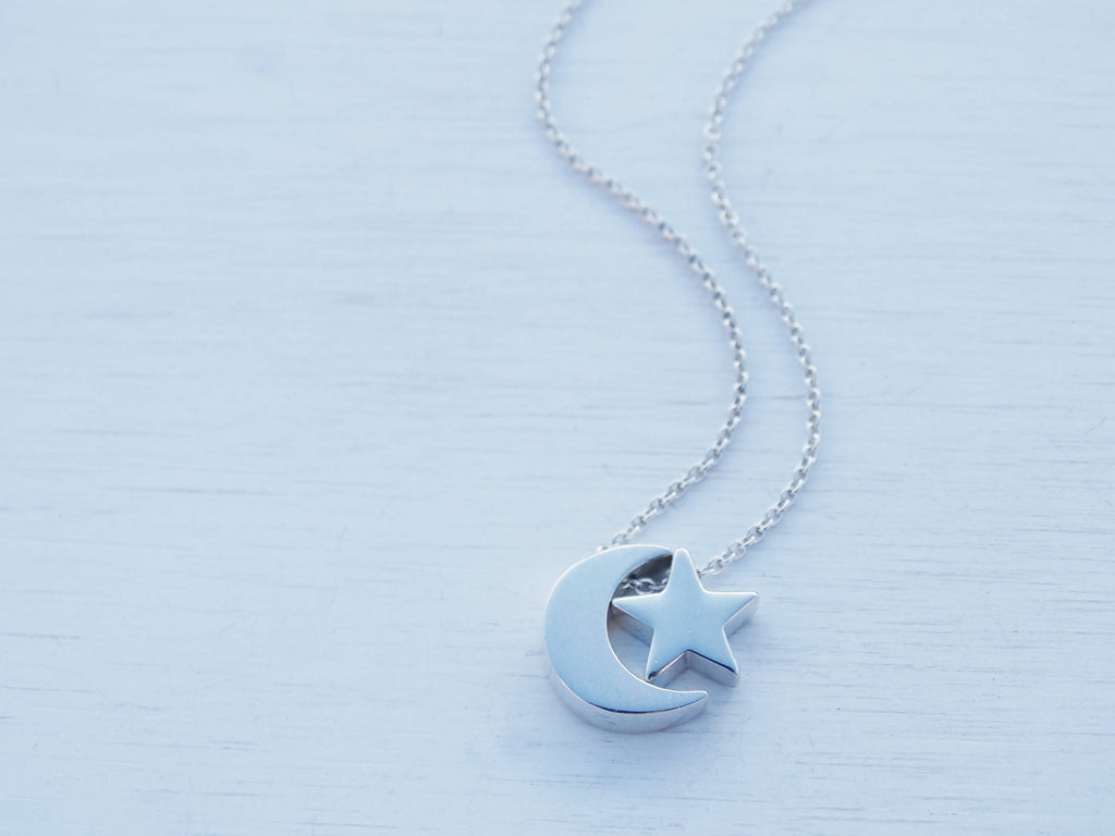 Silver Moon & Star Necklace, Sterling Silver