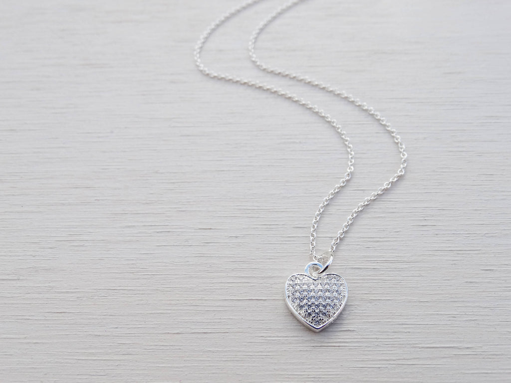 Silver Heart Necklace With Cubic Zirconia, Sterling Silver, Small Pendant