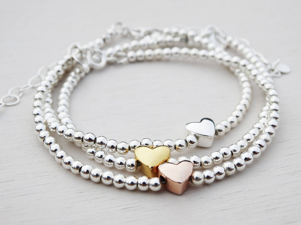 Silver Bead & Rose Gold Heart Bracelet, Sterling Silver